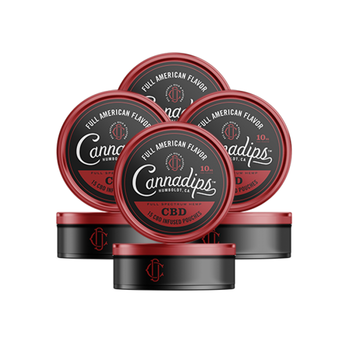 Cannadips CBD - CBD Infused Pouches. THC Free, Tobacco Free, Nicotine Free. American Spice Flavour. 4 Pack.