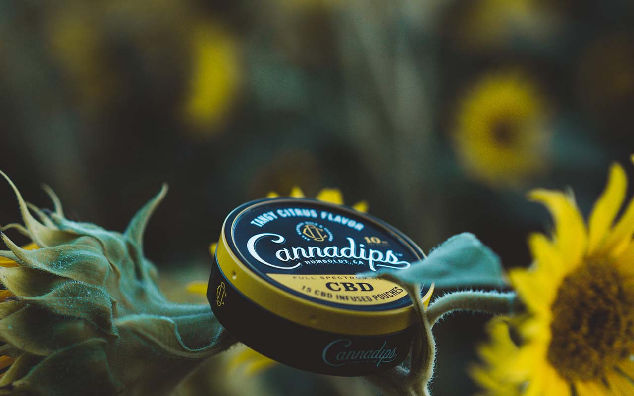 Cannadips CBD - CBD Infused in-mouth pouches. Tangy Citrus in field.